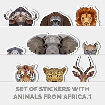 Conjunto de adesivos com animais da áfrica ilustrações criativas conjunto de rostos de animais fofos
