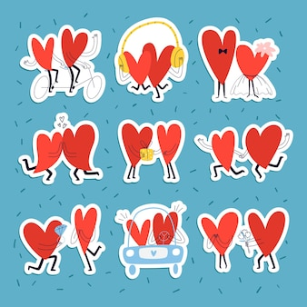 Conjunto de adesivos com corações amorosos. coleção de giro mão desenhada casais apaixonados em estilo doodle.