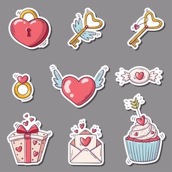 Conjunto de adesivos com corações e outros em estilo doodle