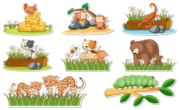 Conjunto de adesivos com diferentes animais selvagens e elementos da natureza