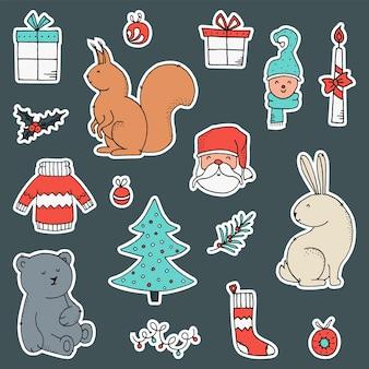 Conjunto de adesivos com elementos de natal e ano novo.