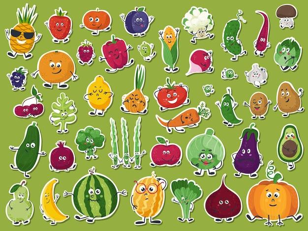 Conjunto de adesivos com frutas e vegetais bonitos.