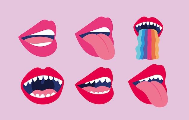 Conjunto de adesivos com ilustração de bocas