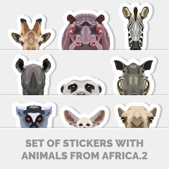 Conjunto de adesivos com ilustrações criativas de animais da áfrica