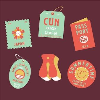 Conjunto de adesivos com lembranças de verão