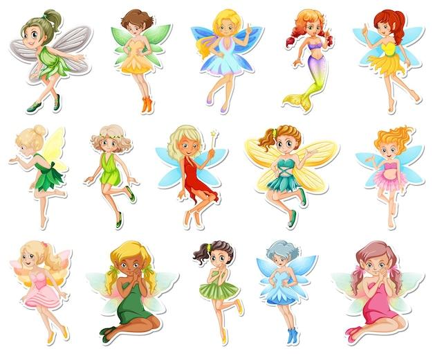 Conjunto de adesivos com lindas fadas e personagem de desenho animado de sereia