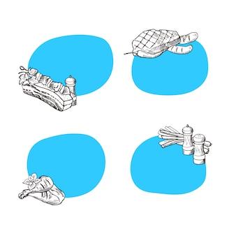 Conjunto de adesivos com lugar para texto com carne de mão desenhada