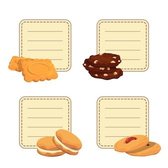 Conjunto de adesivos com lugar para texto com cookies dos desenhos animados