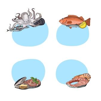 Conjunto de adesivos com lugar para texto com elementos de frutos do mar mão desenhada