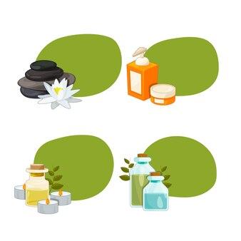 Conjunto de adesivos com lugar para texto com ilustração de elementos de beleza e spa dos desenhos animados