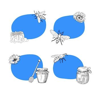 Conjunto de adesivos com lugar para texto com ilustração de elementos de mel mão desenhada