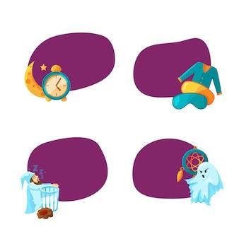 Conjunto de adesivos com lugar para texto com ilustração de elementos de sono dos desenhos animados