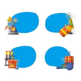 Conjunto de adesivos com lugar para texto com ilustração de pirotecnia dos desenhos animados