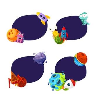 Conjunto de adesivos com lugar para texto com ilustração de planetas e navios de espaço dos desenhos animados