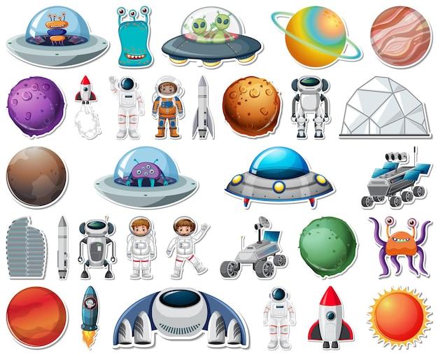 Conjunto de adesivos com objetos do sistema solar isolados