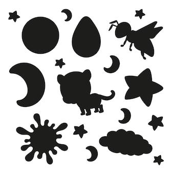 Conjunto de adesivos com personagens de desenhos animados