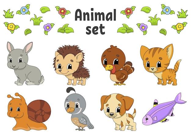 Conjunto de adesivos com personagens fofinhos de desenhos animados clipart de animais
