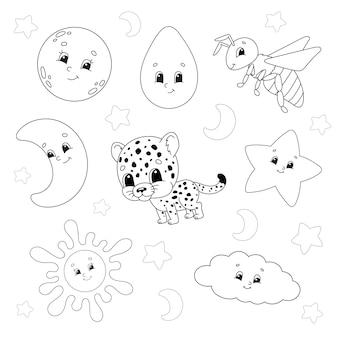 Conjunto de adesivos com personagens fofinhos. livro de colorir para crianças