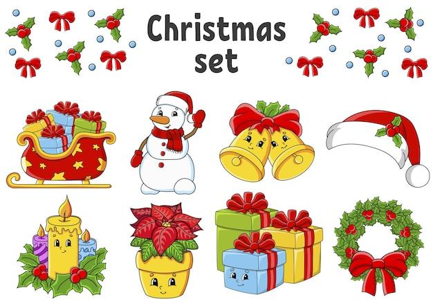Conjunto de adesivos com personagens fofinhos. tema de natal. desenhado à mão.