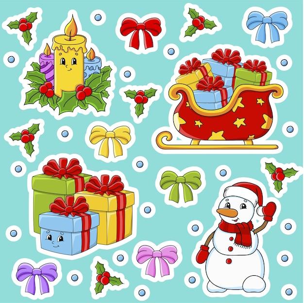 Conjunto de adesivos com personagens fofinhos. tema de natal.
