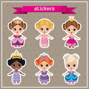 Conjunto de adesivos com princesas