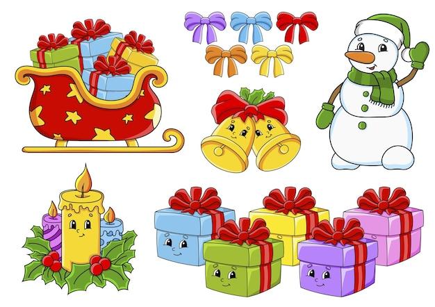 Conjunto de adesivos com tema de natal de personagens fofinhos de desenhos animados