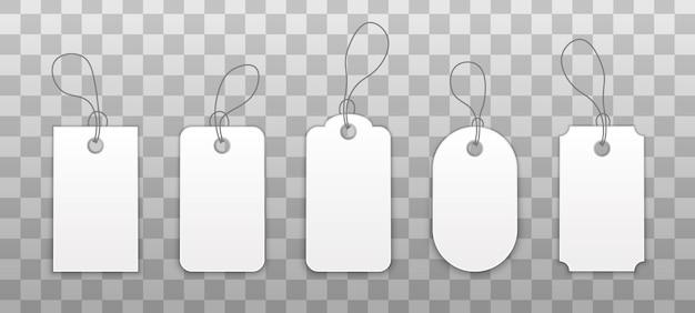 Conjunto de adesivos com um cordão, etiquetas de compras com corda.