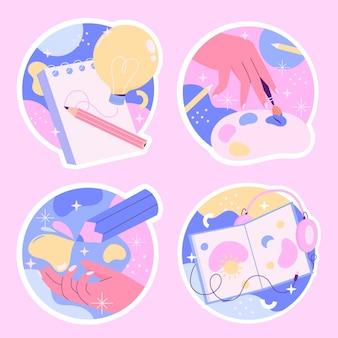 Conjunto de adesivos criativos e coloridos