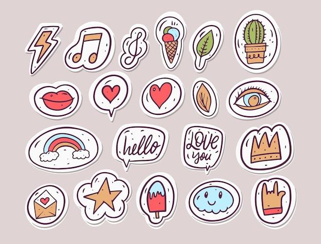 Conjunto de adesivos da moda do doodle.