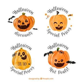 Conjunto de adesivos de abóbora de aquarela de halloween