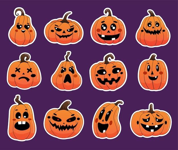 Conjunto de adesivos de abóbora de halloween com contorno branco