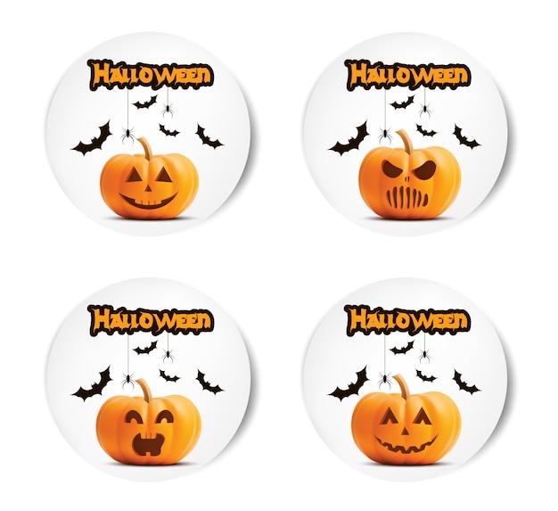 Conjunto de adesivos de abóbora de halloween.