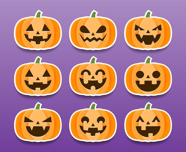 Conjunto de adesivos de abóboras de halloween dos desenhos animados.