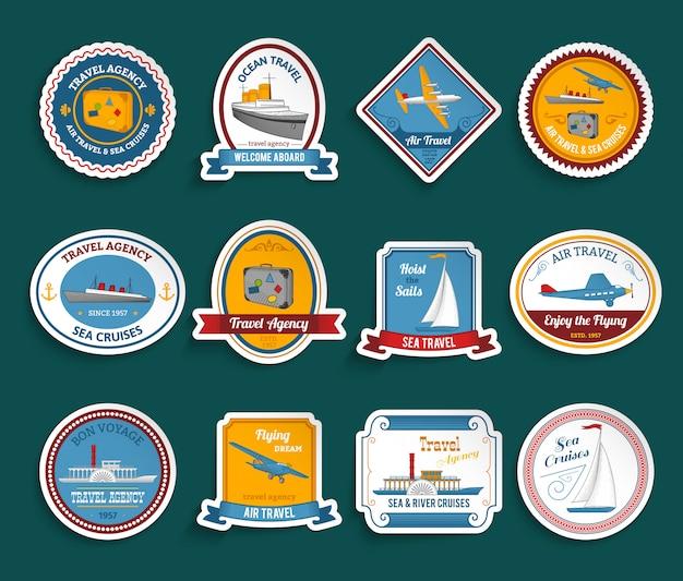 Conjunto de adesivos de agência de viagens de cruzeiro