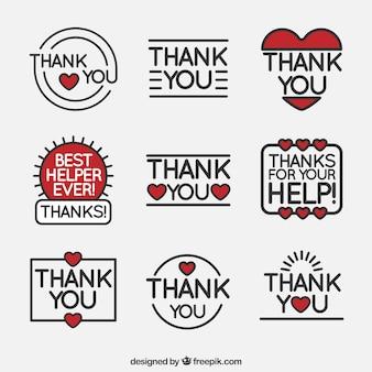 Conjunto de adesivos de agradecimento em estilo linear