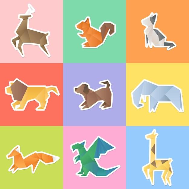 Conjunto de adesivos de animais de origami