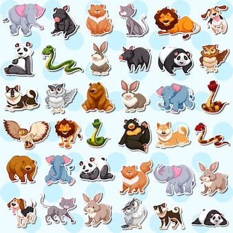 Conjunto de adesivos de animais fofos
