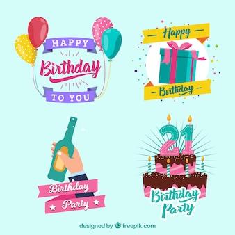 Conjunto de adesivos de aniversário com elementos de celebração