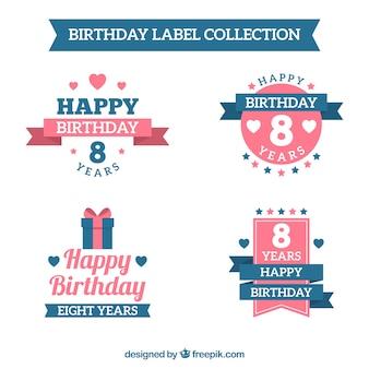 Conjunto de adesivos de aniversário retro em design plano
