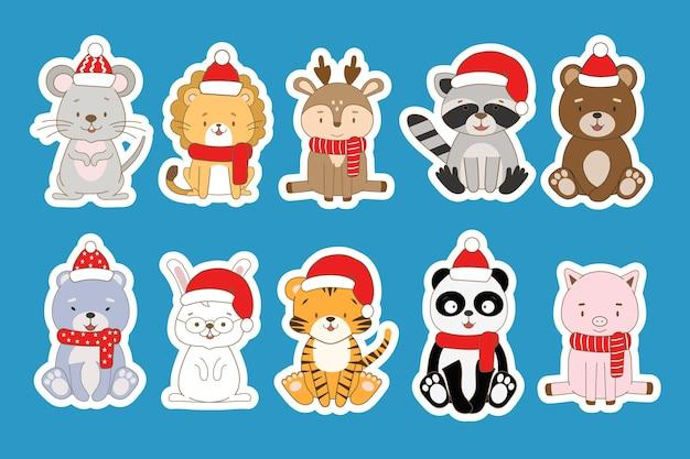 Conjunto de adesivos de ano novo com animais fofos