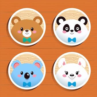 Conjunto de adesivos de avatar de animal fofo