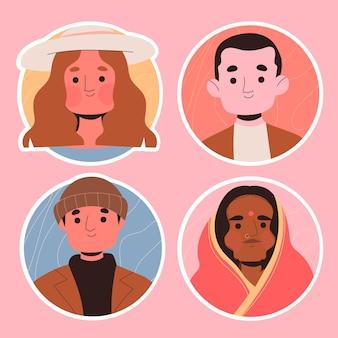 Conjunto de adesivos de avatar de pessoas criativas