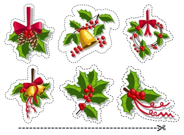Conjunto de adesivos de bagas de azevinho de natal. ícone de vetor isolado no fundo branco.