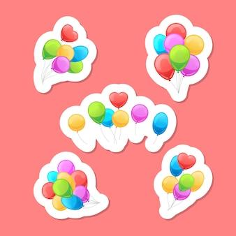 Conjunto de adesivos de balões