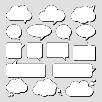 Conjunto de adesivos de bolhas do discurso.