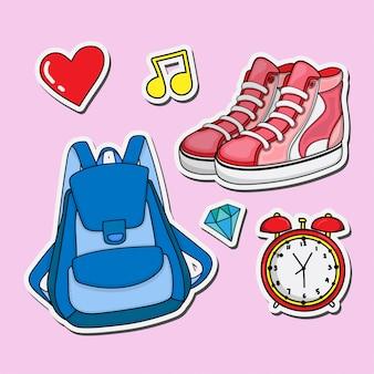 Conjunto de adesivos de bolsa e sapatos