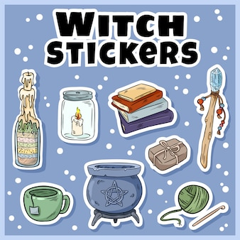 Conjunto de adesivos de bruxa