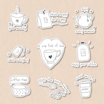 Conjunto de adesivos de café fofo com diário Vetor grátis