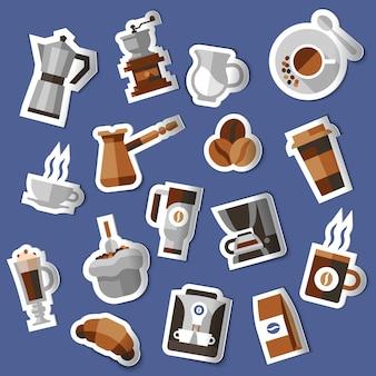 Conjunto de adesivos de café