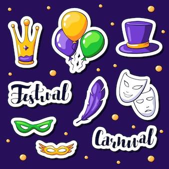 Conjunto de adesivos de carnaval